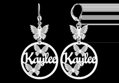 b77a6b385e3f Pendientes de plata con nombre y mariposas